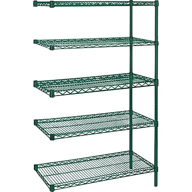 Kleton Green Epoxy Finish Wire Shelving, 5 Shelves, 24