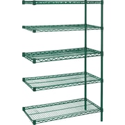 "Kleton Green Epoxy Finish Wire Shelving, 5 Shelves, 24""D. x 74""H."