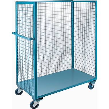 Kleton Wire Mesh Utility Carts, Three-Sided, 1 Shelf, 5