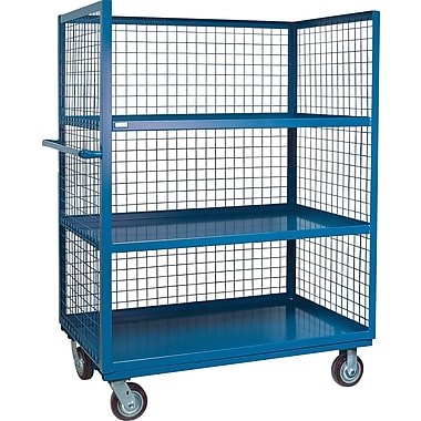 Kleton Wire Mesh Utility Carts, Three-Sided, 3 Shelves, 6