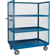 "Kleton Wire Mesh Utility Carts, Three-Sided, 3 Shelves, 6"" Polyurethane Caster, 30""W. x 51""L. x 63""H."