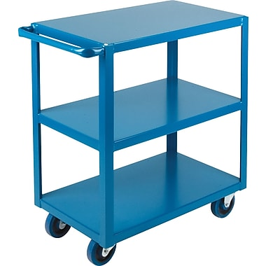 KLETON Heavy-Duty Shelf Carts, 3 Shelves, Lip Down, 36