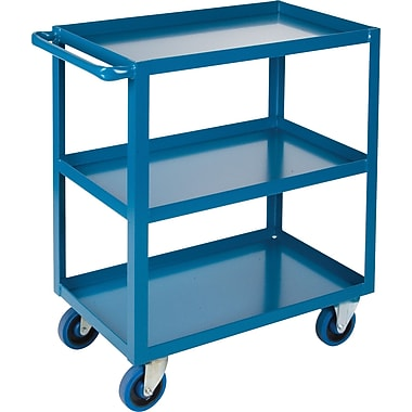 KLETON Heavy-Duty Shelf Carts, 3 Shelves, Lip Up, 36