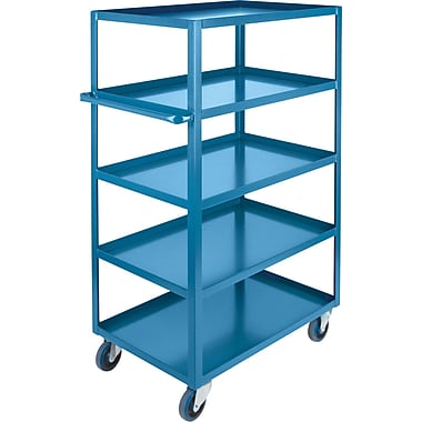 Kleton Heavy-Duty Shelf Carts, 5 Shelves, Lip Up, 61