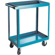 "KLETON Knocked-Down Shelf Carts, 2 Shelves, 5"" Blue Elastic Rubber Casters, 36""H."
