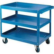 "KLETON Knocked-Down Shelf Carts, 3 Shelves, 5"" Polyolefin Casters, 36""H."