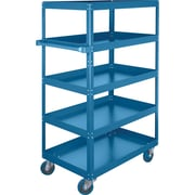 "KLETON Knocked-Down Shelf Carts, 5 Shelves, 5"" Blue Elastic Rubber Casters, 61""H."