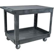 """Kleton Plastic Flat Shelf Utility Service Cart, 2 Shelves, 40-1/2""""L. x 25-1/2""""W. x 32""""H."""