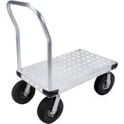 KLETON – Chariot à plateforme en aluminium, roulettes pneumatiques de 10 po, plateforme à saillie