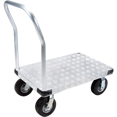 KLETON – Chariot à plateforme en aluminium, roulettes anticrevaison de 8 po, plateforme à saillie