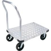KLETON – Chariot à plateforme en aluminium, roulettes en caoutchouc moulé de 8 po, plateforme à saillie