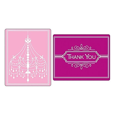 Sizzix® Textured Impressions Embossing Folder, Chandelier & Thank You Set