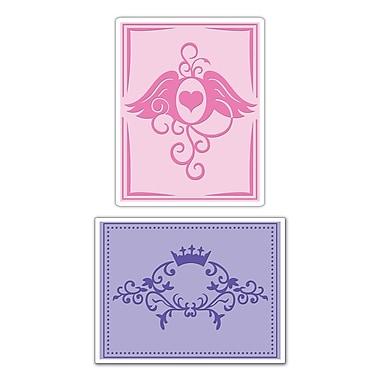 Sizzix® Textured Impressions Embossing Folder, Crown Flourish & Heart Wings Set