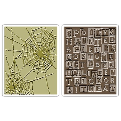 Sizzix® Texture Fades Embossing Folder, Halloween Words and Cobwebs Set
