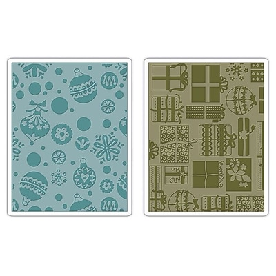 Sizzix® Textured Impressions Embossing Folder, Gifts, Ornaments & Snowflakes Set