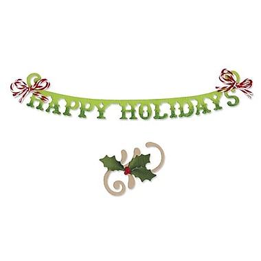 Sizzix® Sizzlits Decorative Strip Die, Phrase, Happy Holidays With Holly Flourish