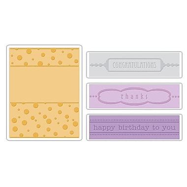 Sizzix® Textured Impressions Embossing Folder, Birthday, Congrats and Thanks Set