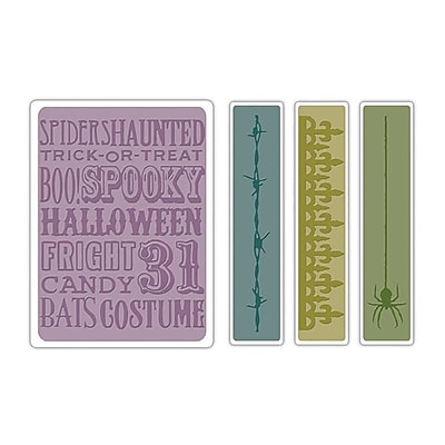 Sizzix® Texture Fades Embossing Folder, Halloween Background and Borders Set