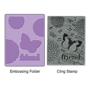 Sizzix® Textured Impressions Embossing Folder With Stamp, Collage Background Set