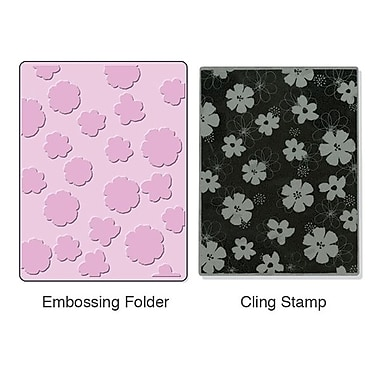 Sizzix® Textured Impressions Embossing Folder With Stamp, Mixed Flowers Set