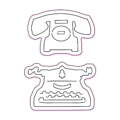 Sizzix® Movers & Shapers Magnetic Die Set, Vintage Telephone & Typewriter Set (657839)