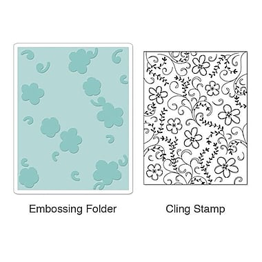 Sizzix® Textured Impressions Embossing Folder With Stamp, Flowers & Vines Set