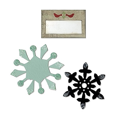 Sizzix® Bigz Die With Bonus Sizzlits, Snowflakes and Tag With Birds (658179)