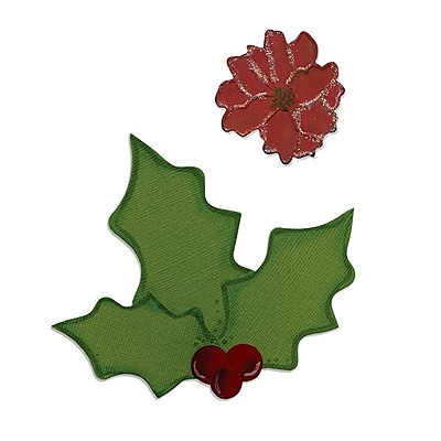 Sizzix® Bigz Die With Bonus Embosslits, Holly and Poinsettia (658184)