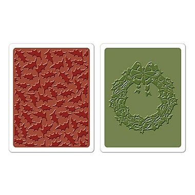 Sizzix® Texture Fades Embossing Folder, Holly Pattern and Wreath Set