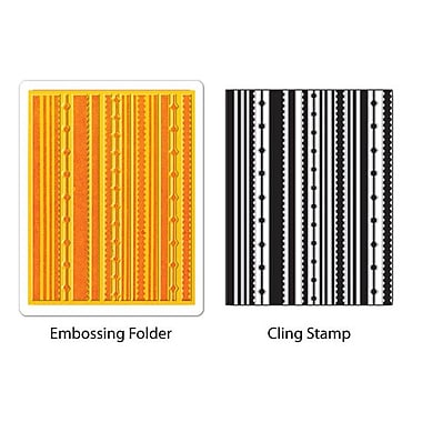 Sizzix® Textured Impressions Embossing Folder With Stamp, Fun Stripes Set