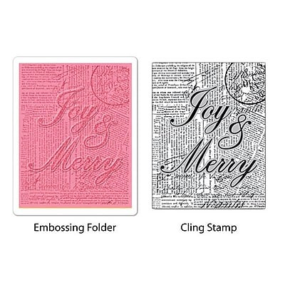 Sizzix® Textured Impressions Embossing Folder With Stamp, Joy & Merry Set