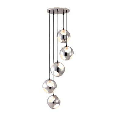 Zuo® 50102 Meteor Shower 40 W Incandescent Ceiling Lamp, Chrome