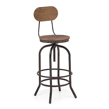 Zuo® Fir Wood Twin Peaks Bar Chair, Distressed Natural