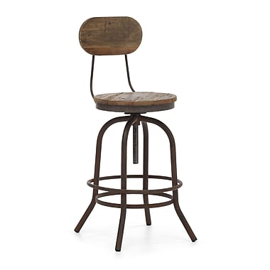 Zuo® Fir Wood Twin Peaks Counter Chair, Distressed Natural