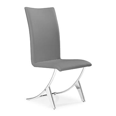 Zuo – Chaises de salle à manger en similicuir de la collection Delfin, gris