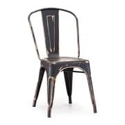 Zuo® Steel Elio Chairs, Antique Black Gold