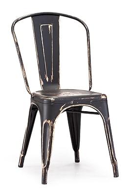 Zuo® Steel Elio Chairs, Antique Black Gold