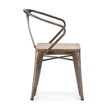 Zuo® Steel Helix Chairs, Rustic Wood