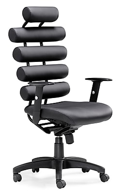 Zuo Unico Leather Computer and Desk Office Chair, Fixed Arms, Black (205050ZUO)
