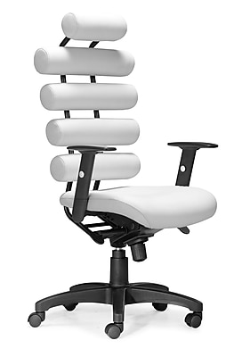 Zuo Unico Leather Computer and Desk Office Chair, Fixed Arms, White (205051ZUO)
