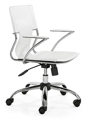 Zuo Trafico Leather Computer and Desk Office Chair, Fixed Arms, White (205182ZUO)