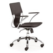 Zuo 205183 Trafico Leatherette Executive Chair with Fixed Arms, Espresso