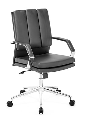 Zuo Director Pro Mid-Back Leatherette Office Chair, Fixed Arm, Black