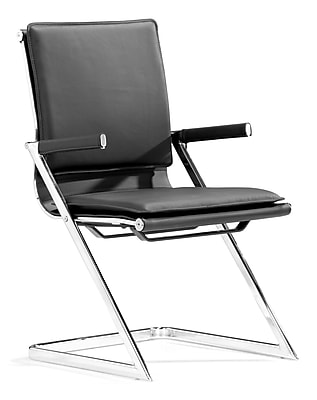 Zuo Lider Plus Steel Conference Chair, Black, 2/Pack (215210)