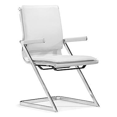 ZuoMD – Chaises de conférence Lider Plus en similicuir, blanc, 2/pqt