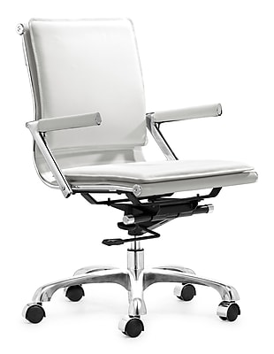 Zuo® Leatherette Lider Plus Office Chair, White