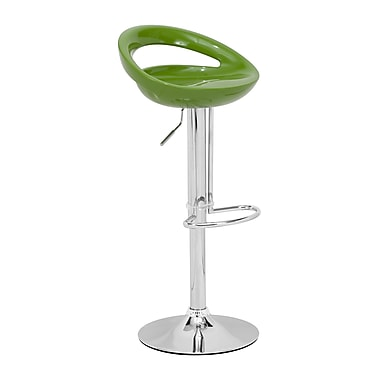 Zuo® ABS Plastic Tickle Barstool, Green