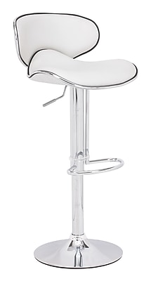 Zuo 40.9'' Contemporary Adjustable Height Leather Bar Stool, White (300131ZUO)