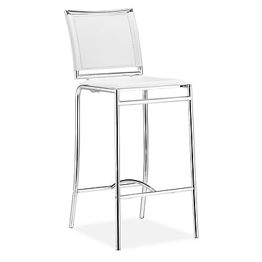 Zuo® Leatherette Soar Bar Chairs, White, 2/Pack