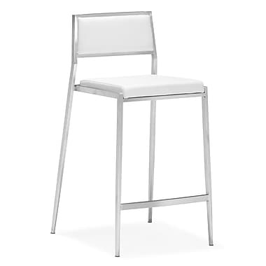 Zuo® Leatherette Dolemite Counter Chairs, White, 2/Pack